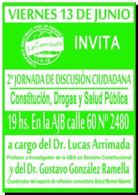 NECOCHEA: 2º Jornadas de discusión ciudadana. Constitución, Drogas y Salud Pública