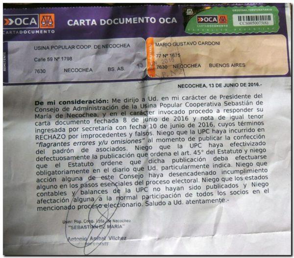 carta documento de la upc a socios