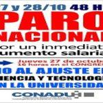 27 y 28 de octubre Paro Nacional de la CONADU Histórica