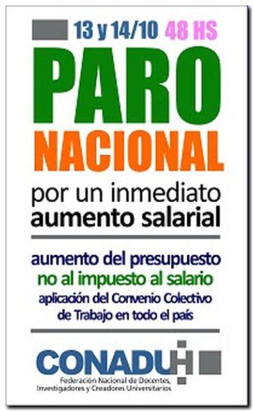 Paro Nacional en las Universidades Nacionales el 13 y 14 de octubre