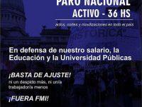 CONADU histórica convoca a paro nacional activo de 36 horas el 24 y 25 de septiembre