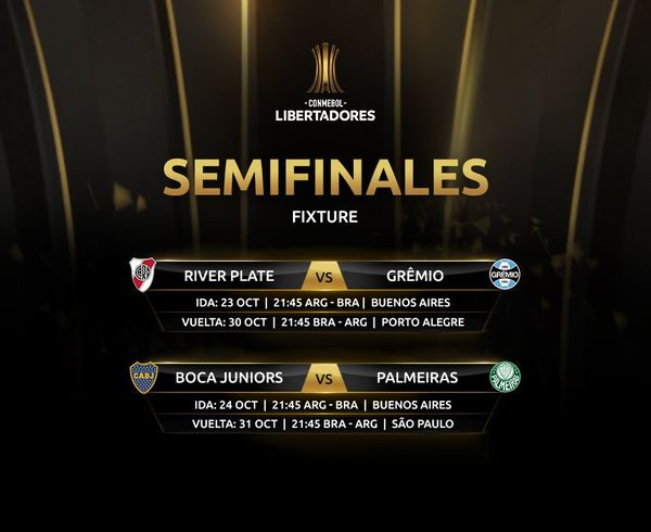 FÚTBOL: Las semifinales entre River y Gremio se jugarán más tarde de lo previsto