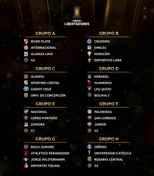 FÚTBOL: Se sortearon los grupos de la Copa Libertadores 2019