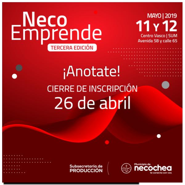 NECOCHEA: Este viernes cierra la inscripción de NecoEmprende