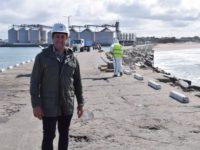 Puerto Quequén comenzó la pavimentación de la Escollera Norte