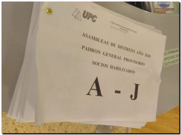 El padrón provisorio de la UPC