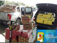 El PJ distribuye alimentos y artículos de limpieza en los barrios