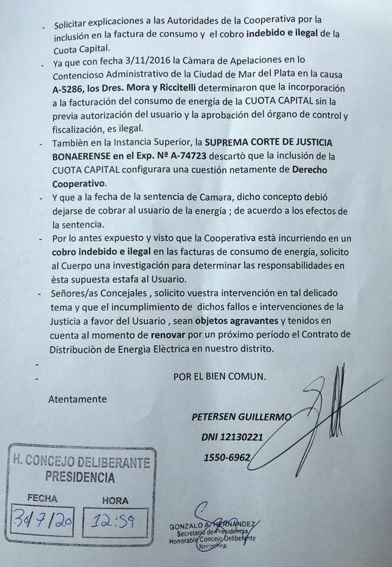 ROBO DE CHEQUES: Presentación ante el Concejo Deliberante